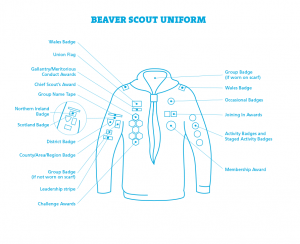 Beaver Scout badge placement diagram